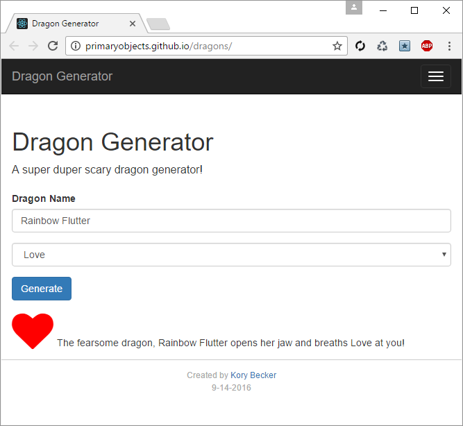 Dragon Generator, built with React, JavaScript, and Twitter Bootstrap