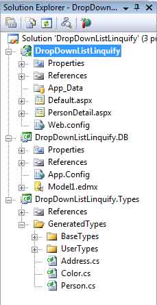 Visual Studio solution with Linquify, the Entity Framework, and a C# ASP .NET web application
