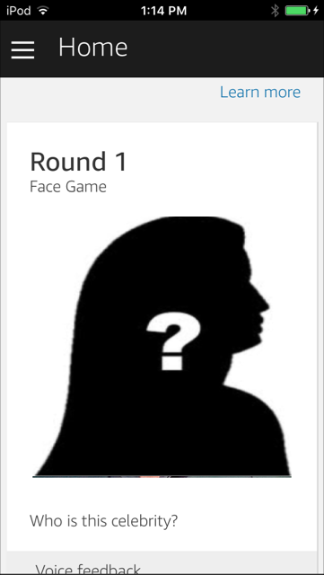 The Face Game Alexa skill. Guess the celebrity picture to score. Combining voice UI with an Amazion Alexa home card.