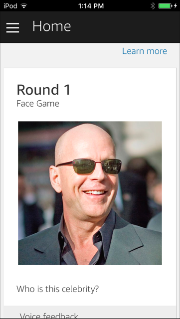 The Face Game skill, showing a nice smile! Displaying an Alexa home card, containing text and an image on a mobile device with the Alexa app.