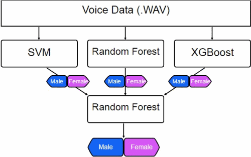 Diagram of the stacked ensemble, using an SVM, Random Forest, and XGBoost model to combine predictions into a single output