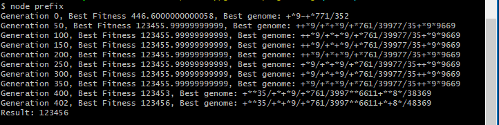 A genetic algorithm to write a program using a prefix expression tree for the value 123456