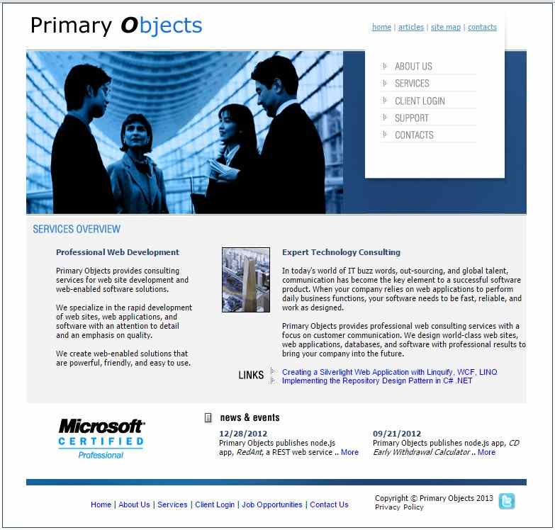 The original primaryobjects.com site template, looking somewhat dated